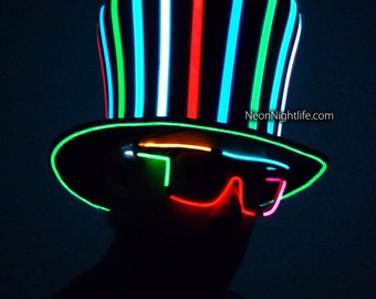 Sound Activated Light Up Mad Hatter Top Hat Multicolored