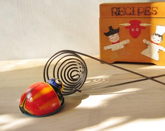 Vintage Toy Lady Bug ~ 1950's/60's Koyo Kinzoku Japan, Vintage tin toy, Cake Topper / 0154