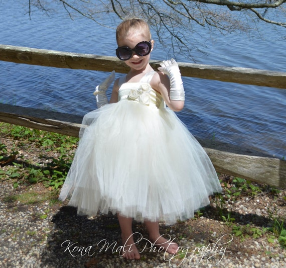 The Victoria...Flower Girl Tutu Dress...Flower Girl Dress...Ivory Tutu Dress...Birthday Tutu Dress... size 1T,2T,3T4T,5T,6,7/8