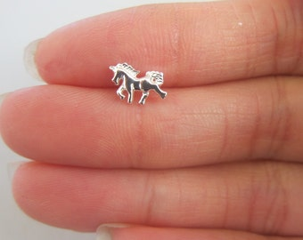 Sterling Silver Horse cartilage Earring, Unicorn Cartilage Earring, Horse Jewelry, Tragus Stud, Nose Stud