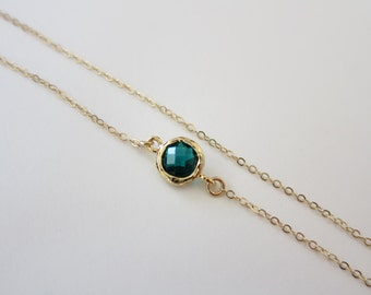 Tiny Emerald Anklet, Gold anklet, Ankle bracelet, tiny anklet, Delicate anklet, ( Also available in other stones ), May Birthstone