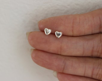 Tiny Heart Stud Earrings, Sterling silver Heart Earrings, Children Earrings, Dainty Heart, Bridesmaid Gift, Gift for girlfriend
