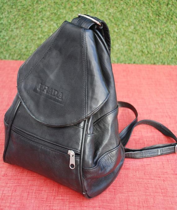 prada black leather backpack