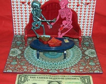 OOAK 1 12 mini Skeleton I Love You Diorama Valentines Day Love Never Dies