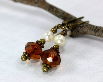 Fresh Water Pearl Earrings, Amber Crystal Earrings, June Birthstone Earrings