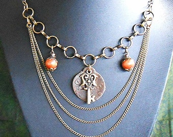 Steampunk Fall Statement Necklace