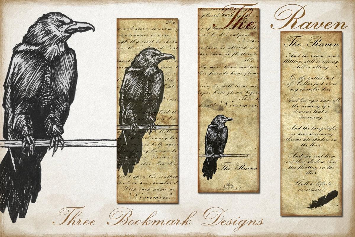 Raven PRINTABLE bookmark digital painting art bookmark design