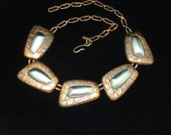Monet Copper Modernist Necklace Vintage