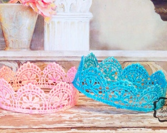 Pink and Blue Newborn Lace Crowns, Newborn Photo Props
