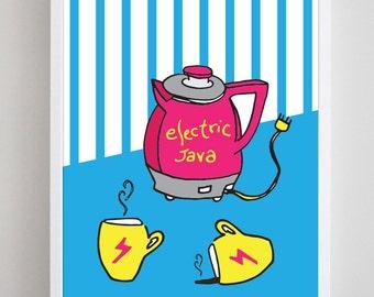 Retro Electric Java Coffee Art Print - 8x10