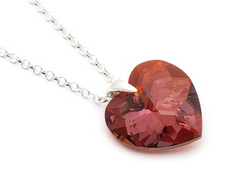 Red Heart Swarovski Necklace, Swarovski Red Magma Necklace, Sterling Silver Pendant, Heart Jewelry, Sterling Silver Jewelry