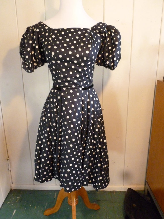 1950's Navy Blue Polka Dot Vintage Dress by Tailored Junior