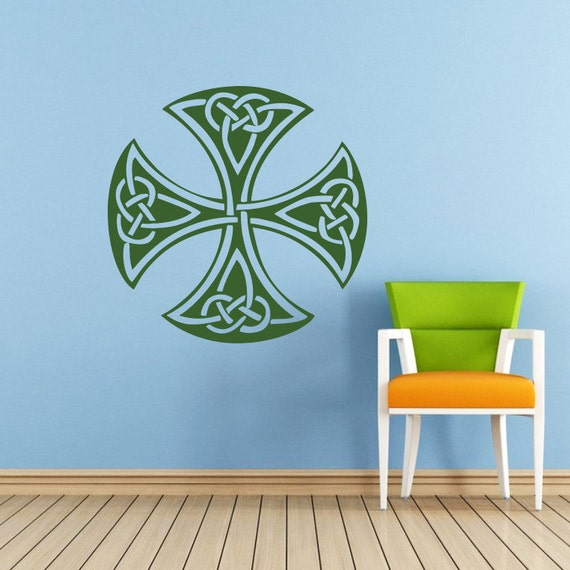 Items similar to celtic cross wall decal celtic cross for Celtic decorations home