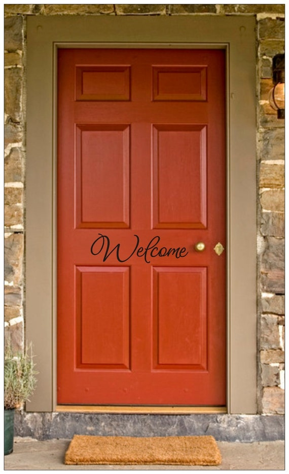 Welcome front door decal vinyl lettering wall words wall for Door vinyl design