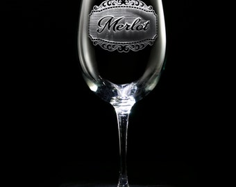 Engraved Merlot Wine Glass