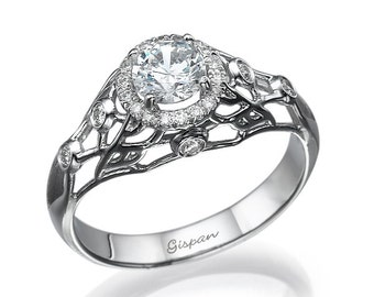 FIligree Engagement Ring, White Gold Ring, Diamond Engagement Ring, Antique RIng, Art Deco Ring, Woman Engagement Ring, 14k Ring, Rings