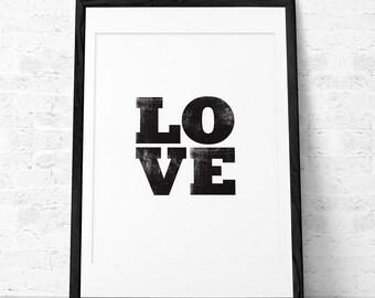 Love print. Black typographic print Black and white print Minimal print Valentine's day wall art Love decor Love wall art Valentine print UK