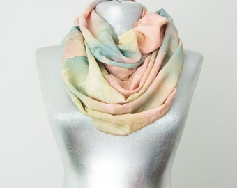 Tie-Dye Scarf Marbled scarf  Floral Scarf Infinity Scarf Pink Scarf Summer Scarf Women's Accessories Gift for Her Fashion Accessories