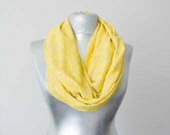 Silvery Yellow Scarf Daisy Scarf Infinity Scarf Lace Scarf Summer Scarf Lightweight Scarf Bridesmaid Scarf
