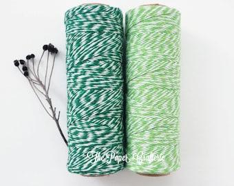 Green Baker's Twine Cotton Stripe Gift Wrap Card Making - 100 Yards