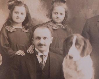 1910's Family And Their Sad Dog RPPC Real Photo Postcard - Free Shipping