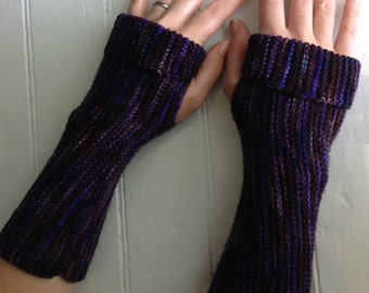 Purple Brown Ribbed Arm Warmers