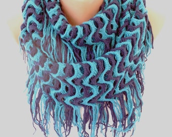 Infinity Scarf Fringe Knit Scarf Cozy Winter Scarf Christmas Gift Blue Neck Warmer Women Fashion Accessories Gift Ideas For Her ScarfClub