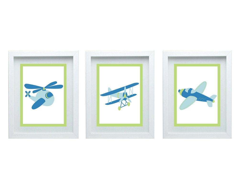 Airplane Wall Decor Nursery : Airplane art nursery decor print wall aviation