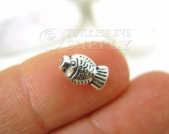 25 pc Mini Fish Spacer Beads, Charms, Antique Silver Plated Mini Fish Beads, Turkish Jewelry