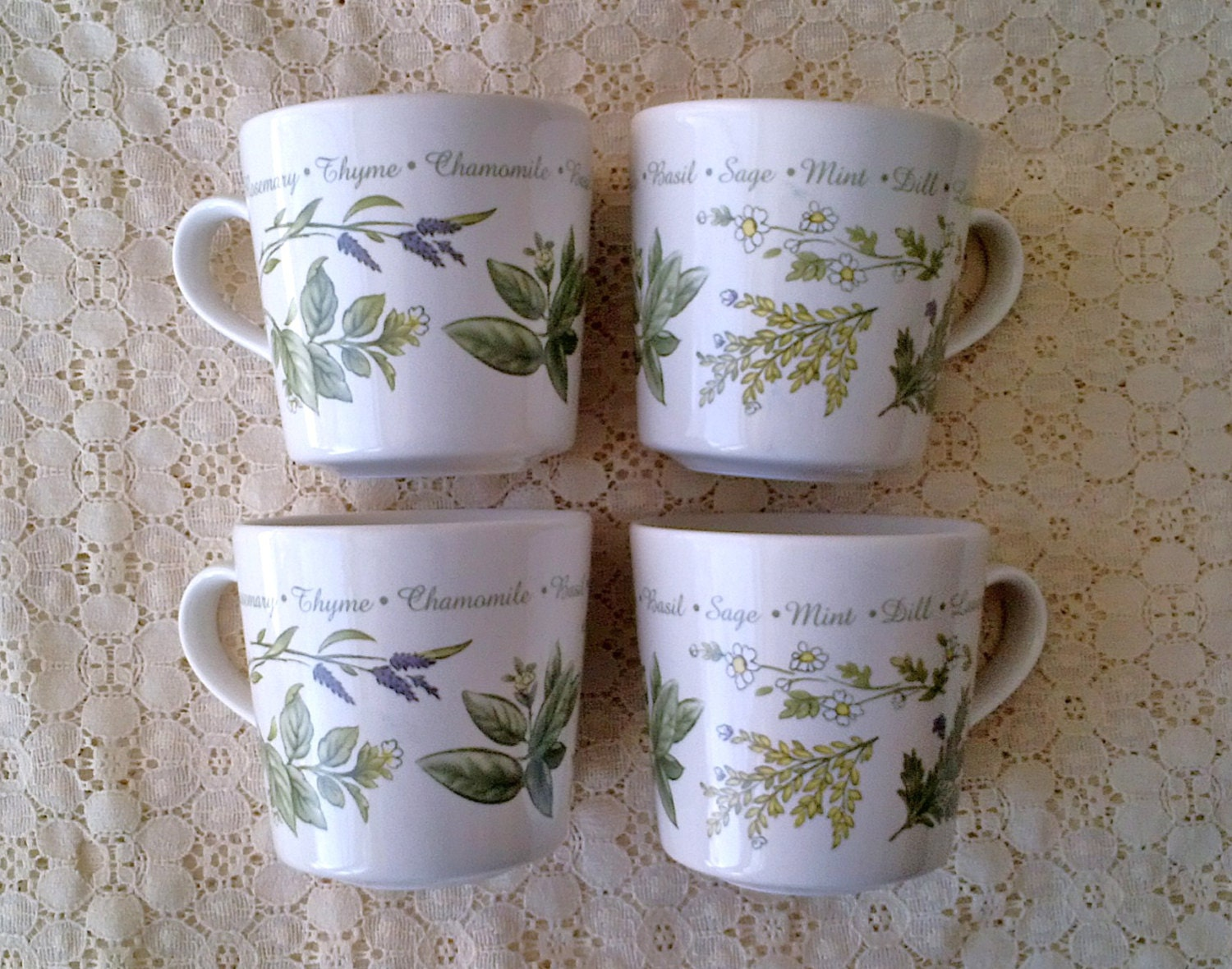 Corelle Coordinates Stoneware Thymeless Mugs - Herbs Green Flower Leaf - Set of THREE