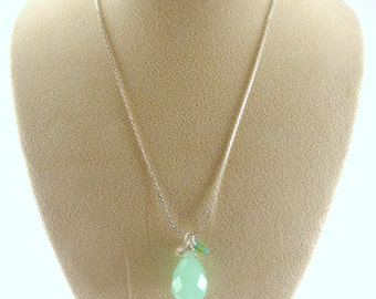 Teal Quartz Teardrop Pendant Necklace, Teal Pendant Necklace, Tiffany Blue Necklace, Aqua Necklace, Silver Charm Necklace, Charm Necklace
