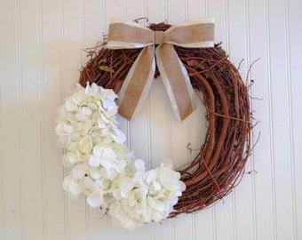 White spring wreath, spring wreath, wreath for spring, summer wreath