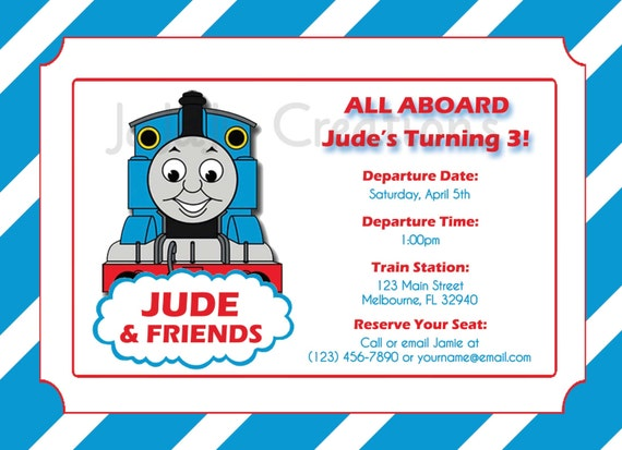 Personalized Thomas The Train Invitations with best invitation design
