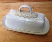 White Ceramic Butter Dish: handmade, one of a kind stoneware ceramic. Hand built, hand carved, lead free and lovely.