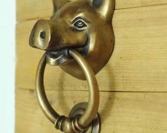 Antique Large BIG ELEPHANT Thai Head Door Knocker Cast Solid