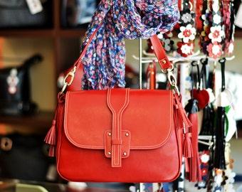 LEATHER MESSENGER BAG, Red Leather Shoulder Bag, Womens Leather Messenger Bag, Red Leather Bag, Woman Leather Bag, Red Leather Messenger