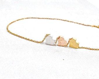 Three Hearts Bracelet.Three Initial Heart Jewelry, Gold Silver Rose Heart Bracelet. Three Tone Jewelry. Silver Gold Rose Heart Bracelet Etsy