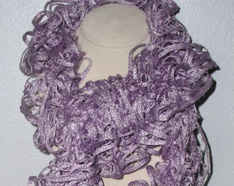 Hand Knit Ruffle Scarf Lavender w/Silver SUMMER CLEARANCE!!