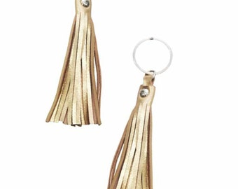 Set of Two Gold Tassel Leather Keychain