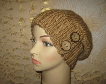 Warm knitted hat for women. Beige hat. Hat with buttons.