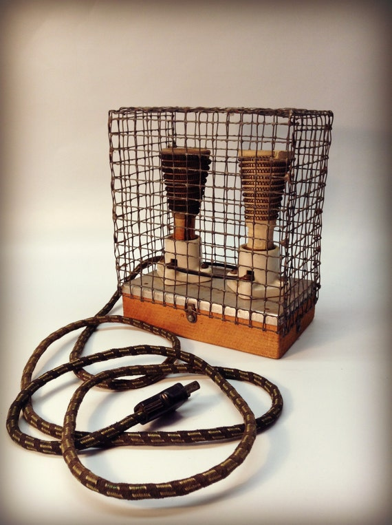Vintage Primitive Eagle Heater Ceramic Porcelain Spiral Wire