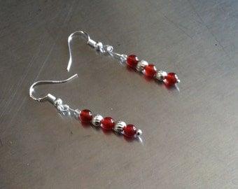 Carnelian, Czech Glass, and Sterling Silver Beaded Dangling French Hook Earrings
