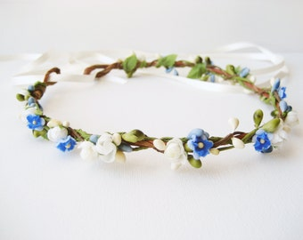 Flower crown, Blue wedding hair accessories, Bridal headpiece, Floral headband, Wreath - DEWDROP