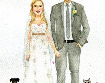Custom wedding illustration , Custom Wedding Portrait ,watercolor portrait, Wedding   portrait, custom illustration.