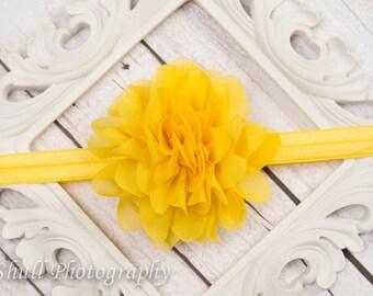 Baby headband, Yellow Chiffon headband, Spring Baby Headband, Yellow Flower Headband, Baby Girl Headband, Infant Headband