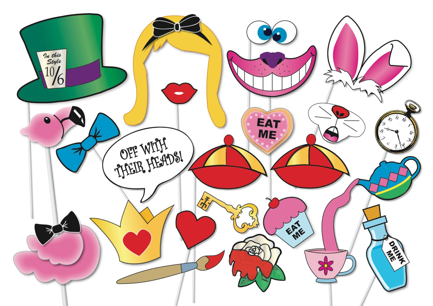 Alice In Wonderland Decoration Alice In Wonderland Party Photo Booth Props Set 33 Piece