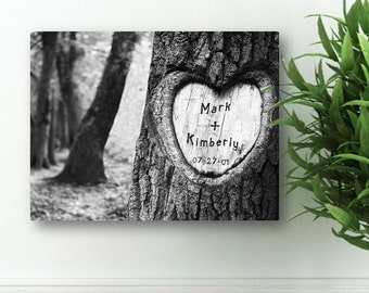 "Personalized Tree Carving Canvas Print - 18"" x 24"" Canvas print - Heart Tree Carving - Valentines Day Gift -  CA0084"