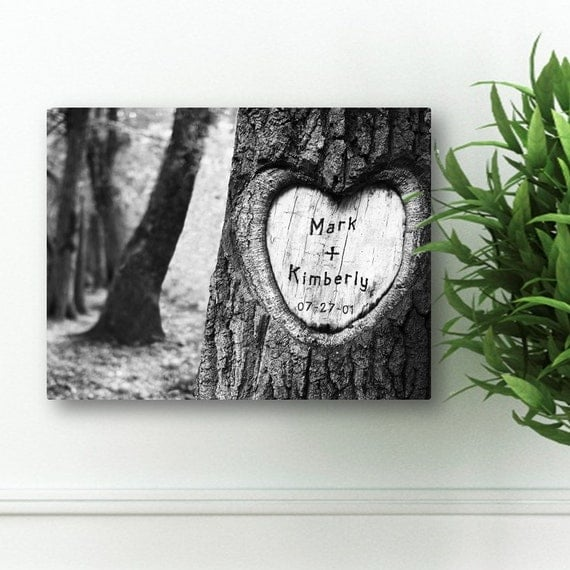 Personalized Wedding Canvas: Personalized Tree Carving Canvas Print 18 X 24 By