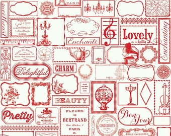 Retro Label Fabric - Found Label Red from Lost and Found 2 by My Mind's Eye for Riley Blake C3691 Red - 1/2 yard