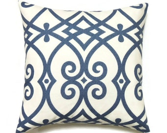 Blue Geometric Pillow Cover, 20x20 Pillow Cover, Modern Indigo Throw Pillows, Jaclyn Smith Gatework Rot Indigo